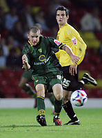 Photo: Paul Thomas.<br /> Watford v Norwich. Coca Cola Championship.<br /> 13/09/2005.<br /> <br /> Norwich's Dean Marney looks to pass the ball wide.