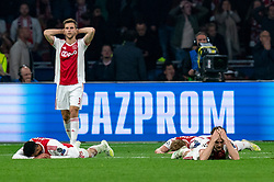 08-05-2019 NED: Semi Final Champions League AFC Ajax - Tottenham Hotspur, Amsterdam<br /> After a dramatic ending, Ajax has not been able to reach the final of the Champions League. In the final second Tottenham Hotspur scored 3-2 / Joel Veltman #3 of Ajax, Noussair Mazraoui #12 of Ajax, Daley Blind #17 of Ajax, Matthijs de Ligt #4 of Ajax