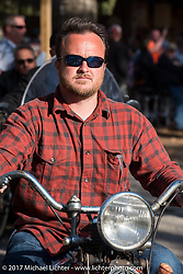 Matt McMannus on his 1941 Harley-Davidson Knucklehead model E at the Cycle Source bike show at the Broken Spoke Saloon during Daytona Beach Bike Week. FL. USA. Tuesday, March 14, 2017. Photography ©2017 Michael Lichter.