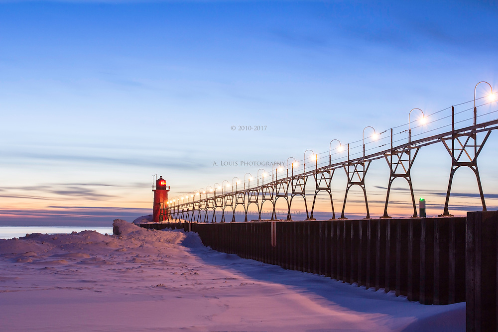 A frozen twilight at the South Pier in South Haven.