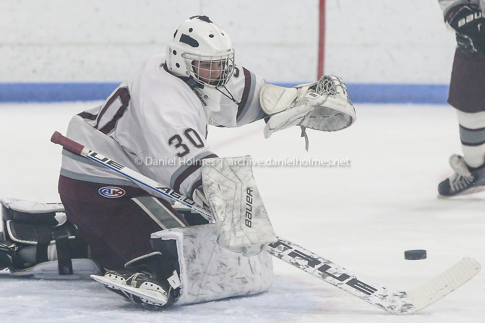 (1/26/19, DEDHAM, MA) Dedham goalie Connor Stamm  makes a save during the boys hockey game against Medway at Nobles in Dedham on Saturday. [Daily News and Wicked Local Photo/Dan Holmes]