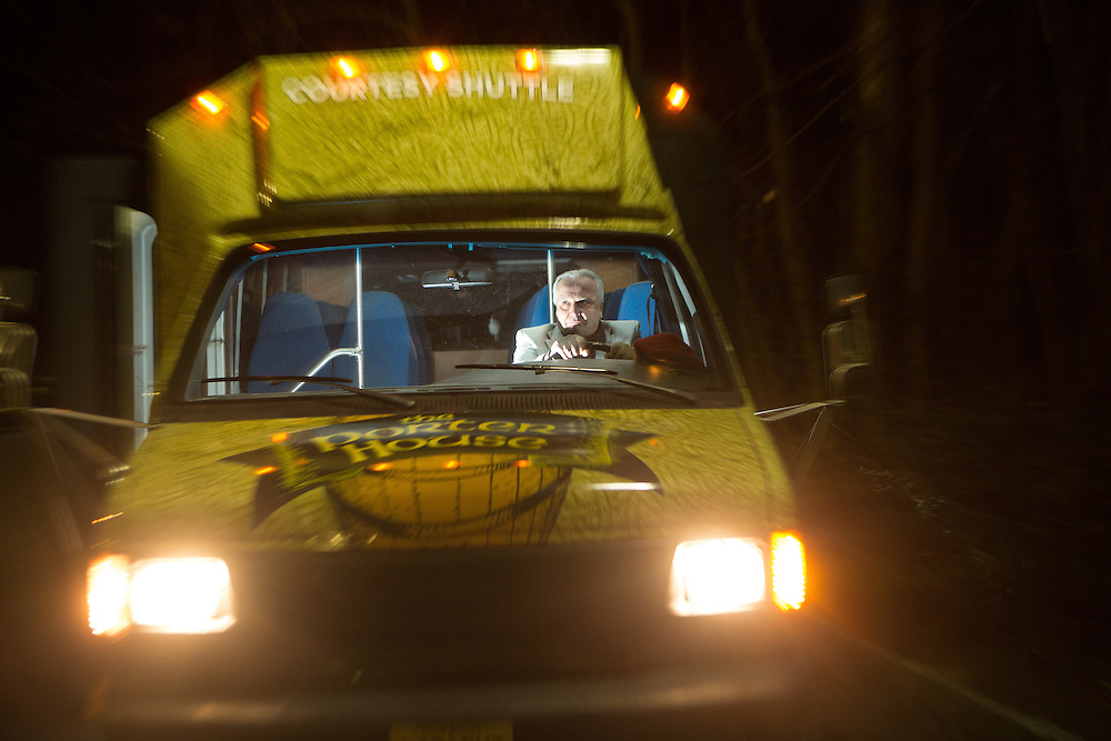 Dan Riecken drives a courtesy shuttle for the customers of The Porter House in Montvale.  1/17/15 Photo by John O'Boyle<br /> www.johnoboylevisuals.com<br /> john@johnoboyle.com