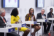 Klaus Tilmes, Director, Trade and Competitiveness Global Practice<br /> World Bank, Grace Ihejiamaizu, Founder and Executive Director<br /> iKapture Center for Development ,Anne Githuku-Shongwe, Founder<br /> Afroes Transformational Games, Georges Desvaux, Managing Partner, Africa<br /> McKinsey & Company, South Africa, Olusola David-Borha, Chief Executive, Africa<br /> Standard Bank Group   at the World Economic Forum on Africa 2017 in Durban, South Africa. Copyright by World Economic Forum / Greg Beadle