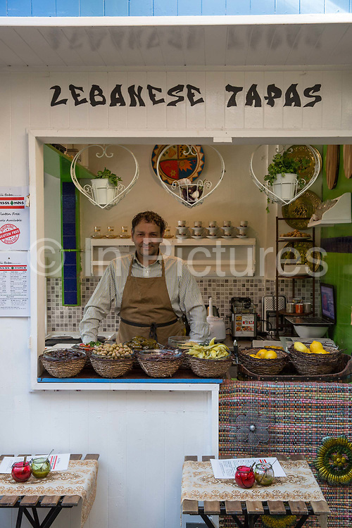 Lebanese Tapas food stall at Blackrock Market on 08th April 2017 in County Dublin, Republic of Ireland. Long-running market with over 30 eclectic stalls carrying goods such as art, jewellery & home decor. Dublin is the largest city and capital of the Republic of Ireland.