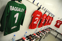 General views of the changing room prior to kick-off - Mandatory by-line: Nizaam Jones/JMP - 28/04/2019 - FOOTBALL - Stoke Gifford Stadium - Bristol, England - Bristol City Women v West Ham United Women - FA Women's Super League 1