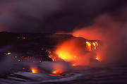Lava flowing into the sea from Kilauea. Hawaii, Big Island, USA.