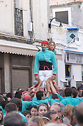 Human tower competition, castellers,  Sitges, Catalonia, Spain