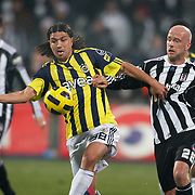 Besiktas's Fabian ERNST (R) and Fenerbahce's Mehmet TOPUZ (L) during their Turkish Superleague Derby match Besiktas between Fenerbahce at the Inonu Stadium at Dolmabahce in Istanbul Turkey on Sunday, 20 February 2011. Photo by TURKPIX