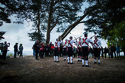 © Licensed to London News Pictures. 01/05/2017. Albury, UK. The Pilgrim Morris Men of Guildford dance at dawn on May Day on St-Martha's Hill. Photo credit: Peter Macdiarmid/LNP