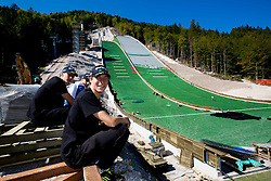 Nejc Dezman, Jurij Tepes at media day of Slovenian Ski jumping team during construction of two new ski jumping hills HS 135 and HS 105, on September 18, 2012 in Planica, Slovenia. (Photo By Vid Ponikvar / Sportida)