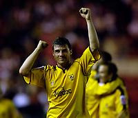 Photo: Jed Wee.<br /> Middlesbrough v Notts County. Carling Cup. 20/09/2006.<br /> <br /> Notts County's Austin McCann celebrates.