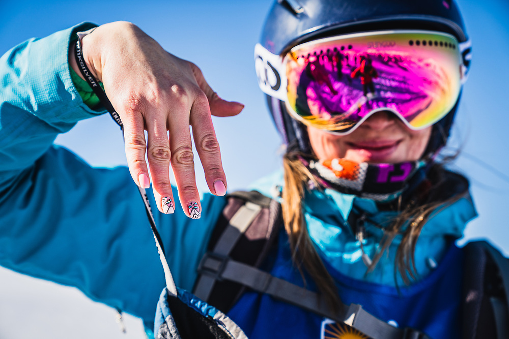 Yuliya Polyakova shows off her love of the big mountains on her nails - Day 4 Silk Road Freeride Competition, Jyrgalan, KG.