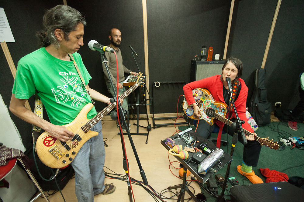 Héctor Buitrago and Andrea Echeverri of the Latin American rock band Los Aterciopelados practicing in Bogota, Colombia.