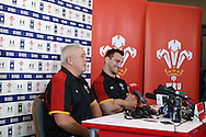 Warren Gatland, the Wales head coach and capt of Wales Sam Warburton ® speak to the press at the Wales Rugby team announcement press conference at the Vale Resort, Hensol near Cardiff, South Wales on Wed 24th February 2016. The team are preparing for the the RBS Six nations championship match against France on Friday night.<br /> pic by  Andrew Orchard, Andrew Orchard sports photography.