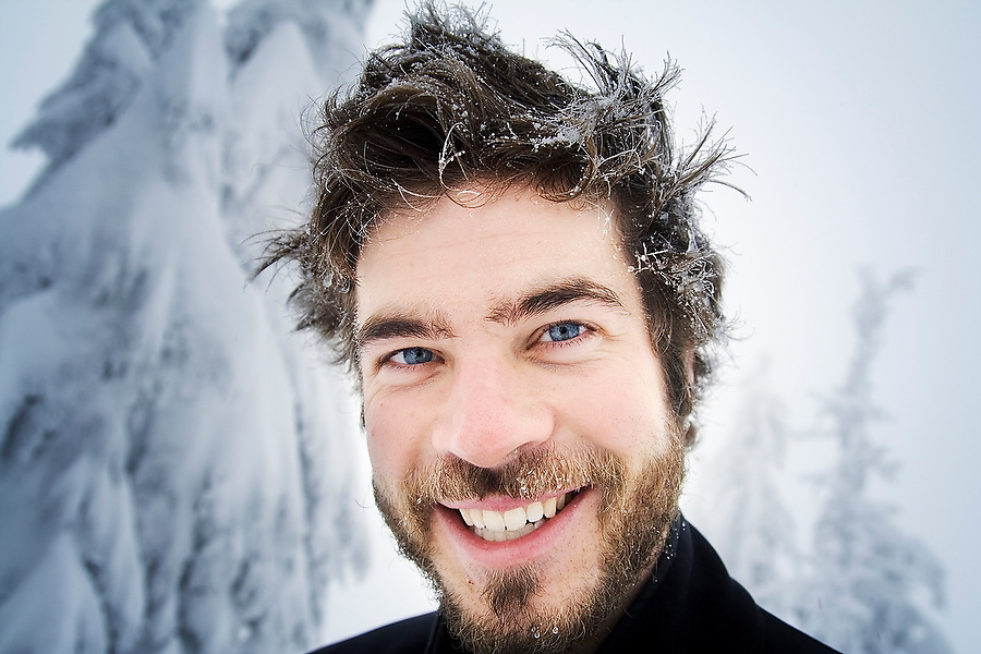 Nick Cowan poses for a portrait with wild frosted hair during a backcountry ski tour to the Red Heather Meadows in Garibaldi Provincial Park, British Columbia, Canada on November 25, 2006.