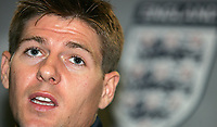 Photo: Paul Thomas.<br /> England Press Conference. 30/08/2006. <br /> <br /> Steven Gerrard.