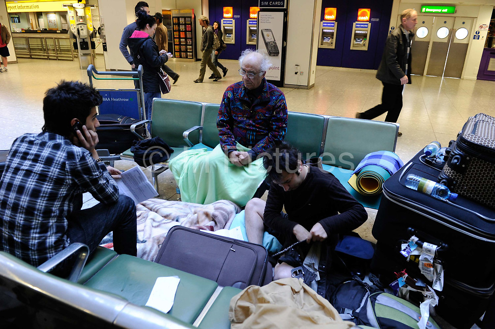 Delays at Heathrow Airport in West London after many planes were grounded for a long period of time due to the volcanic ash cloud which spread from Iceland. Scenes of chaos, frustration and disruption followed. London, UK.