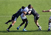 Rugby Union - 2020 / 2p021 Gallagher Premiership - Round 16 - Newcastle Flacons vs Bristol Bears - Kingston Park<br /> <br /> Niyi Adeolokun of Bristol Bearsis tackled by George Wacokecoke of Newcastle Falcons and Tom Penny of Newcastle Falcons <br /> <br /> Credit: COLORSPORT/BRUCE WHITE