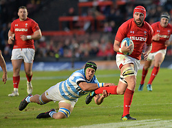 June 16, 2018 - Santa Fe, Argentina - Cory Hill (R) from Wales is tackled by Matias Alemanno (bottom) from Argentina during the International Test Match between Argentina and Wales at the Brigadier Estanislao Lopez Stadium, on June 16, 2018 in Sante Fe, Argentina. (Credit Image: © Javier Escobar/NurPhoto via ZUMA Press)
