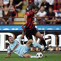 Milano 21/8/2004 Supercoppa Italiana - Italian Supercup Milan Lazio 3-0 Paolo Maldini Milan challenged by Massimo Oddo Lazio<br /> <br /> Foto Andrea Staccioli Graffiti