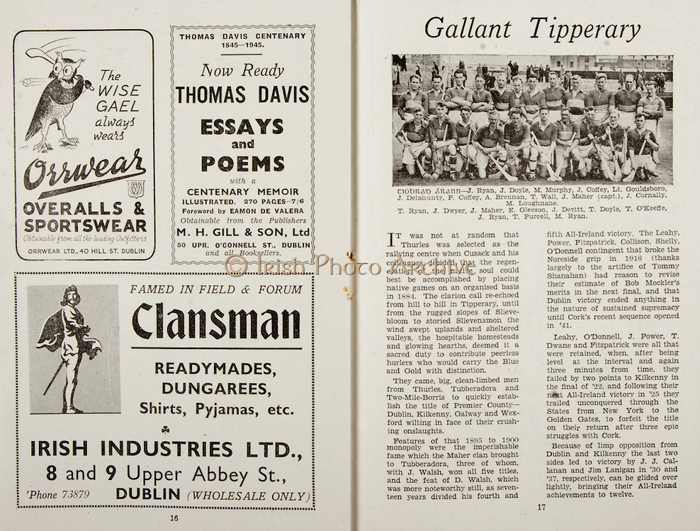 All Ireland Senior Hurling Championship Final,.Brochures,.09.02.1945, 02.09.1945, 2nd September 1945,.Tipperary 5-6, Kilkenny 3-6, .Minor Dublin v Tipperary, .Senior Tipperary v Kilkenny, .Croke Park, ..Advertisements, Orrwear Overalls and Sportswear, Thomas Davis Essays and Poems, Clansman Readymades Dungarees Shirts Pyjamas Irish Industries Ltd, ..Articles, Gallant Tipperary,