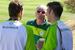 Goalkeeper of Slovenia Samir Handanovic, Rudi Zavrl and Bostjan Cesar of Slovenia during a training session at  Hyde Park High School Stadium on June 14, 2010 in Johannesburg, South Africa.  (Photo by Vid Ponikvar / Sportida)