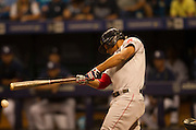 MLB: SEP 12 Red Sox at Rays. Xander Bogaerts of the Red Sox, Hits an RBI in the First Inning.
