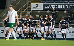 Falkirk's David McCracken (5) celebrates after scoring their goal.<br /> Falkirk 1 v 0 Hibernian, Scottish Championship game played 6/12/2014 at The Falkirk Stadium .