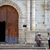 Americas, Central America; Guatemala. The 16th century San Francisco Assis mission in Panajachel, Guatemala.