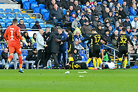Football - 2019 / 2020 Sky Bet (EFL) Championship - Cardiff City vs. Brentford<br /> <br /> Tempers boil over after \6\ is  brought down , at The Cardiff City Stadium.<br /> <br /> COLORSPORT/WINSTON BYNORTH