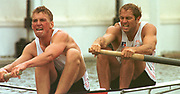 Henley. United Kingdom. GBR  M2- Bow Steven REDGRAVE and Matt PINSENT setting a new record, in the Goblets, Henley Royal Regatta. Henley Reach, England.<br /> <br /> {Mandatory Credit: Peter SPURRIER/Intersport Images]