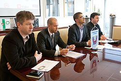 Jure Pezdirc, Dejan Kontrec, Matjaz Rakovec and Robert Verlic at HZS Press conference about official launch of tickets sale for 2012 IIHF Ice Hockey World Championship Division I Group A that will be at new arena SRC Stozice, on Januar 18, 2012 at Hala Tivoli, Ljubljana, Slovenia. (Photo By Matic Klansek Velej / Sportida)