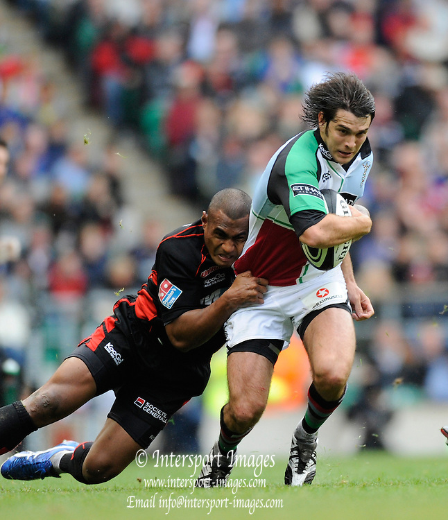 Twickenham, GREAT BRITAIN,  Quins, Gonzalo TIESI, tackled by, Kameli RATOVOU, during the Guinness Premiership match,  Saracens vs Harlequins, at Twickenham Stadium, Surrey on Sat 06.09.2008. [Photo, Peter Spurrier/Intersport-images]