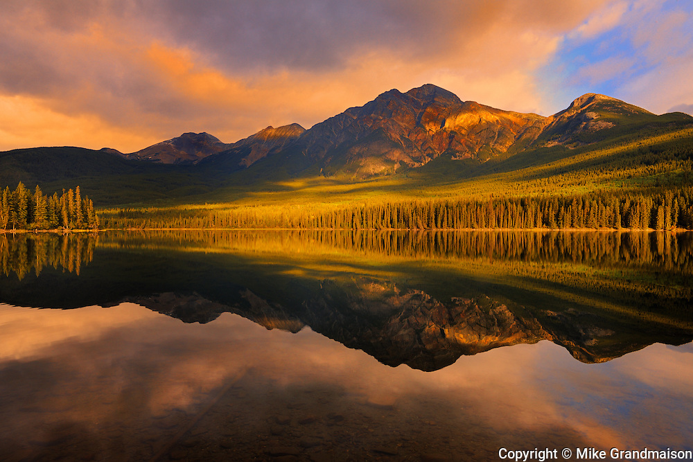 Pyramid Mountain reflected in Pyramid Lake in the Canadian Rocky Mountains <br /> Jasper National Park<br /> Alberta<br /> Canada