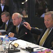 UEFA Executive Committee holds successful Istanbul meeting. Lennart Johansson (R) with Senez ERZIK (C), Aigner( L) during their press conference.<br /> Photo by Aykut AKICI/TurkSporFoto