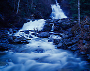 Bijoux Falls in Pine Pass of the Rocky Mountains, Bijoux Falls Provincial Park, British Columbia, Canada.