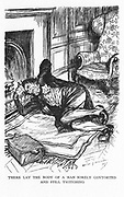 Robert Louis Stevenson 'The Strange Case of Dr Jekyll and Mr Hyde' first published 1886. Mr Utterson and Jekyll's butler, having broken down the laboratory door, finds Hyde not yet back to being Dr Jekyll. Illustration by Edmund J Sullivan  from an edition published 1928.