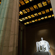 Night shot of the Lincoln statue in the Lincoln Memorial