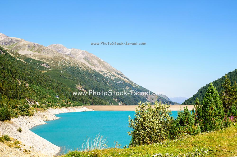 Austria, Zillertal High Alpine nature Park Hochgebirgs Naturpark Schlegeis dam and reservoir with the Schlegeis glacierin the background