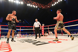 © Licensed to London News Pictures. 26/03/2016.  Boxer NICK BLACKWELL defends his British middleweight championship against number one-ranked contender CHRIS EUBANK JR at the SSE Arena, Wembley.   Twenty-five-year-old Blackwell is one of the most exciting fighters in the country and won the British middleweight title in May 2015.  He has since defended his title twice.  London, UK. Photo credit: Ray Tang/LNP