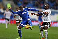 Sol Bamba of Cardiff city holds off  Sone Aluka of Fulham (r).  EFL Skybet championship match, Cardiff city v Fulham at the Cardiff city stadium in Cardiff, South Wales on Saturday 25th February 2017.<br /> pic by Andrew Orchard, Andrew Orchard sports photography.