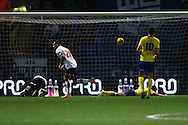 Craig Davies of Bolton Wanderers scores his teams 1st goal. Skybet football league championship match, Bolton Wanderers v Huddersfield Town at the Macron stadium in Bolton, Lancs on Saturday 29th November 2014.<br /> pic by Chris Stading, Andrew Orchard sports photography.