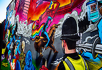 """Street artist Gent 48 was commissioned by Art For Charity to create a new mural, entitled Forward in Unity, to raise money for the Lord Mayor's Charity and """"represent Birmingham"""" during the coronavirus pandemic photo by Chris Wynne"""