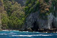 Spectacular rugged W coastline of JIcarita Island, Coiba National Park, Panama