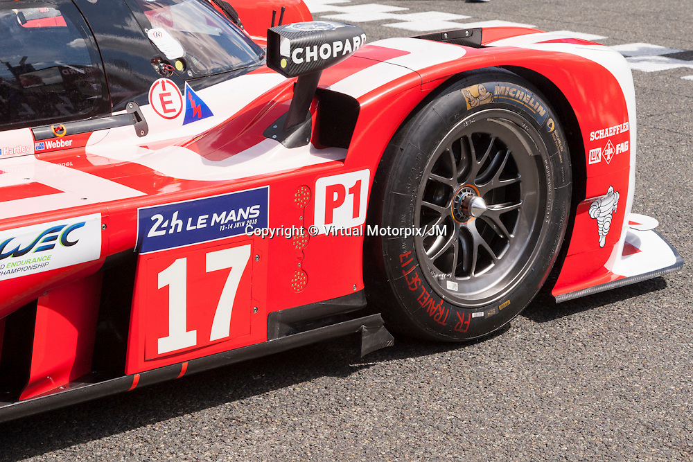 #17 Porsche 919 Hybrid, Team  Porsche driven by Timo Bernhard, Mark Webber, Brendon Hartley, Le Mans 24hr 2015, Test Day