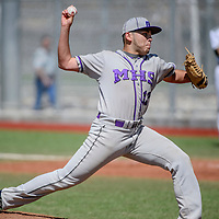 Miyamura Patriot Anthony Montoya (12) pitches to the Aztec Tigers Saturday at the Gallup Sports Complex.