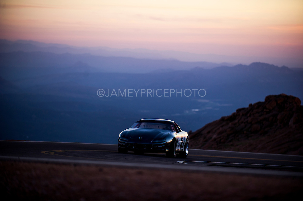 June 26-30 - Pikes Peak Colorado. Rod Moberly runs his car during practice for the 91st running of the Pikes Peak Hill Climb.