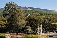 Russia, Sakhalin, Yuzhno-Sakhalinsk. The Gagarin Park is supposedly one of the largest parks in the far east. It has a small lake with boats.