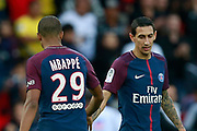 Paris Saint Germain's French forward Kylian Mbappe salutes Paris Saint Germain's Argentinian midfielder Angel Di Maria during the French Championship Ligue 1 football match between Paris Saint-Germain and Girondins de Bordeaux on September 30, 2017 at the Parc des Princes stadium in Paris, France - Photo Benjamin Cremel / ProSportsImages / DPPI