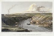 The Wear Above Sunderland Iron Bridge, c1829. The Wear was an important waterway for the export of the coal, chemical and industrial products of the area. On the right are warehouses and staithes, while on the left are the tops of the masts of vessels which could be loading up at coal staithes. Engraving after William Westall (1781-1850), British painter and printmaker.